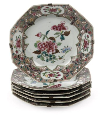 A set of six Chinese octagonal