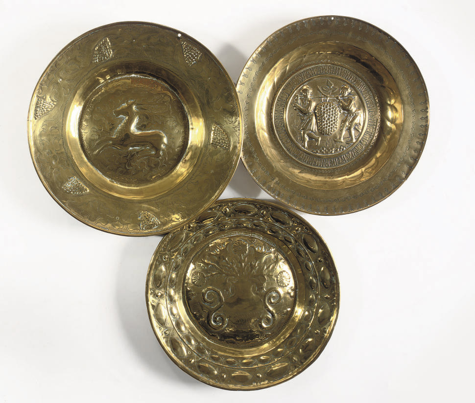 THREE VARIOUS BRASS ALMS DISHE