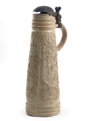 A German stoneware pewter-moun