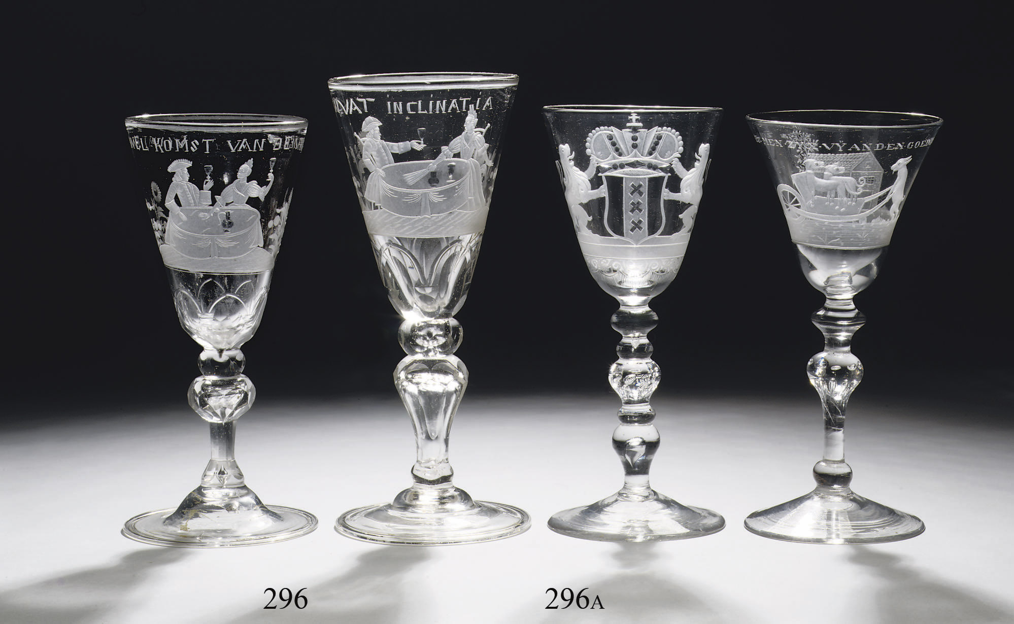 Two Bohemian engraved goblets