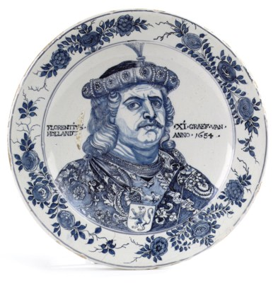 A Dutch delftware portrait cha