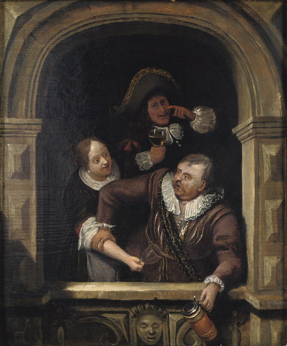 A man holding a tankard, a man and woman behind him holding a glass of wine