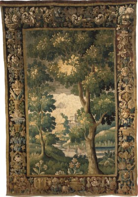 AN AUBUSSON VERDURE TAPESTRY F