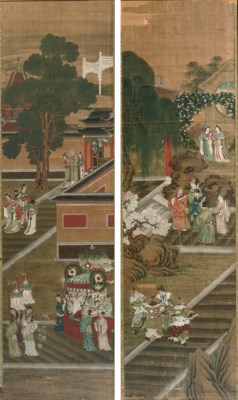 A pair of Chinese paintings on