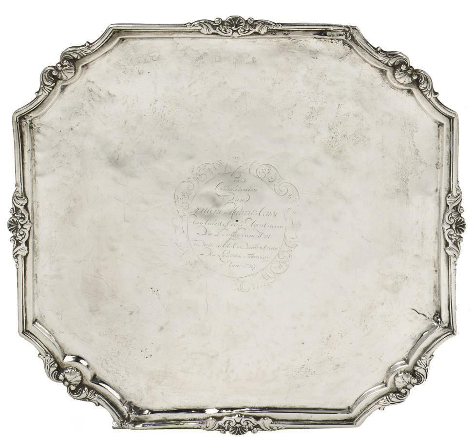 A Dutch colonial silver tray,