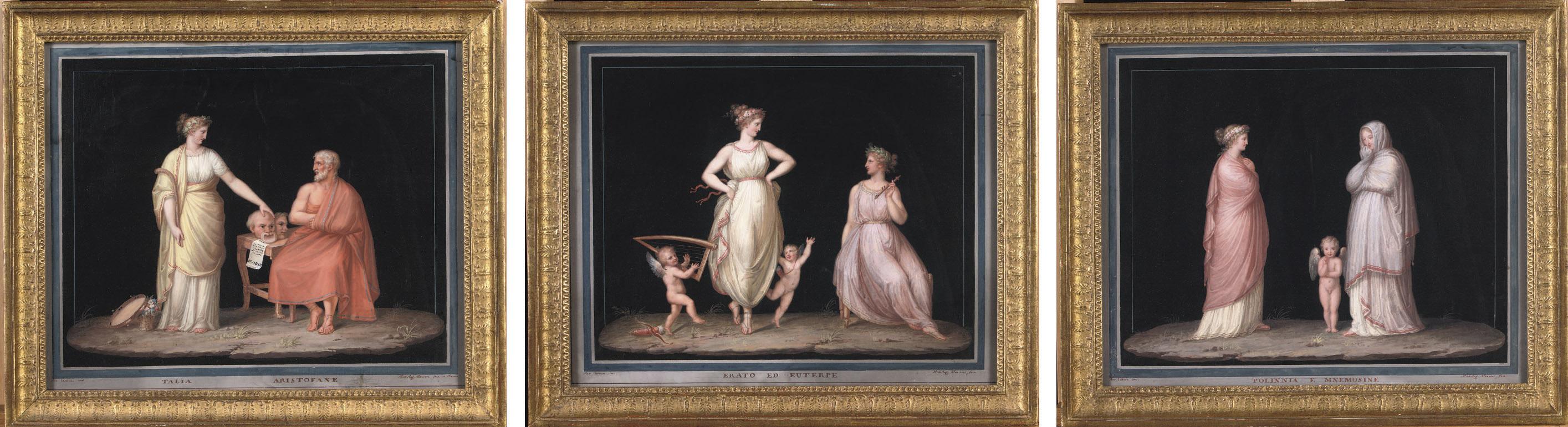 Erato ed Euterpe; Talia Aristofane; Polinnia e Mnemosine