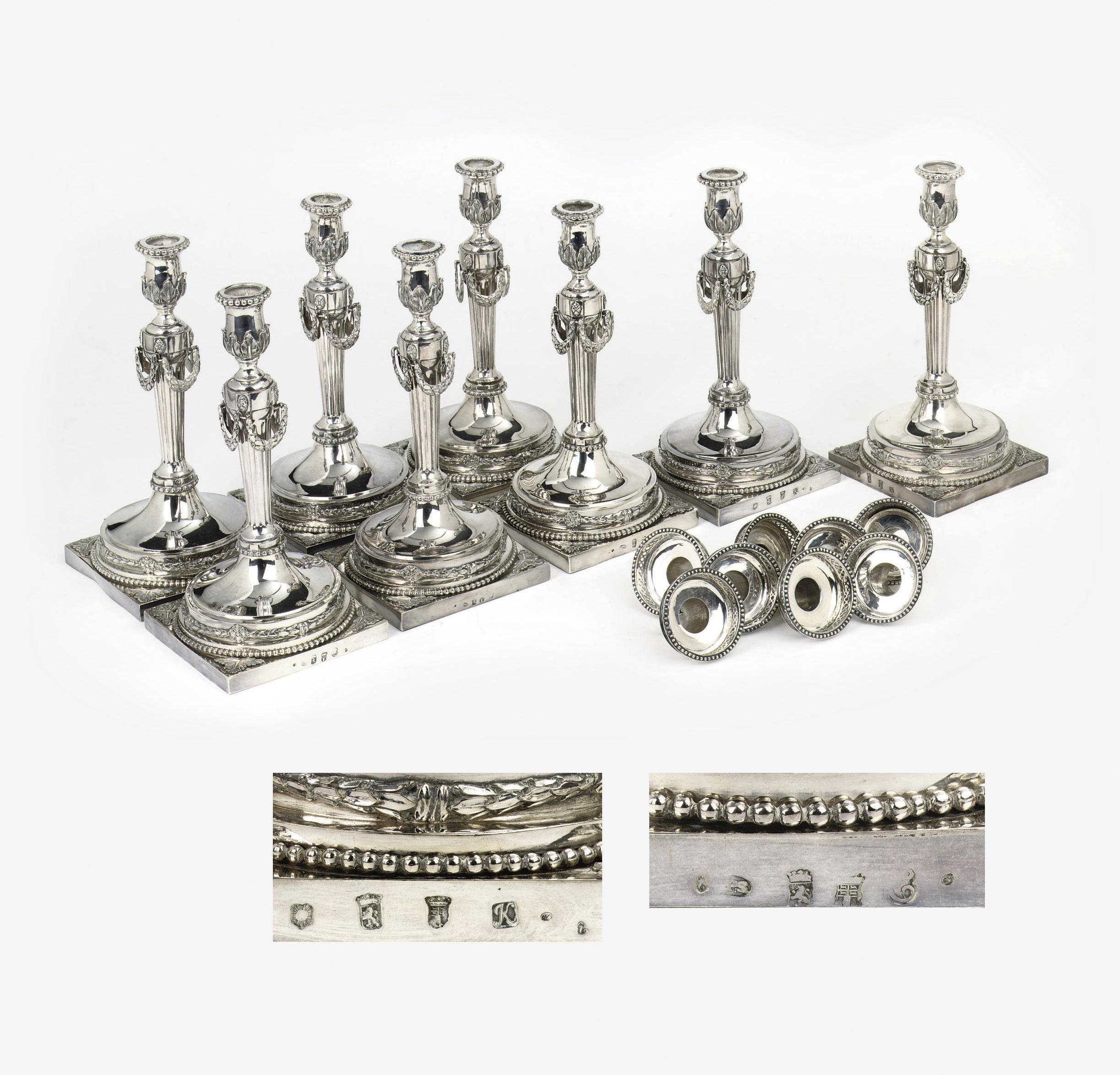 A matched set of eight Dutch silver candlesticks
