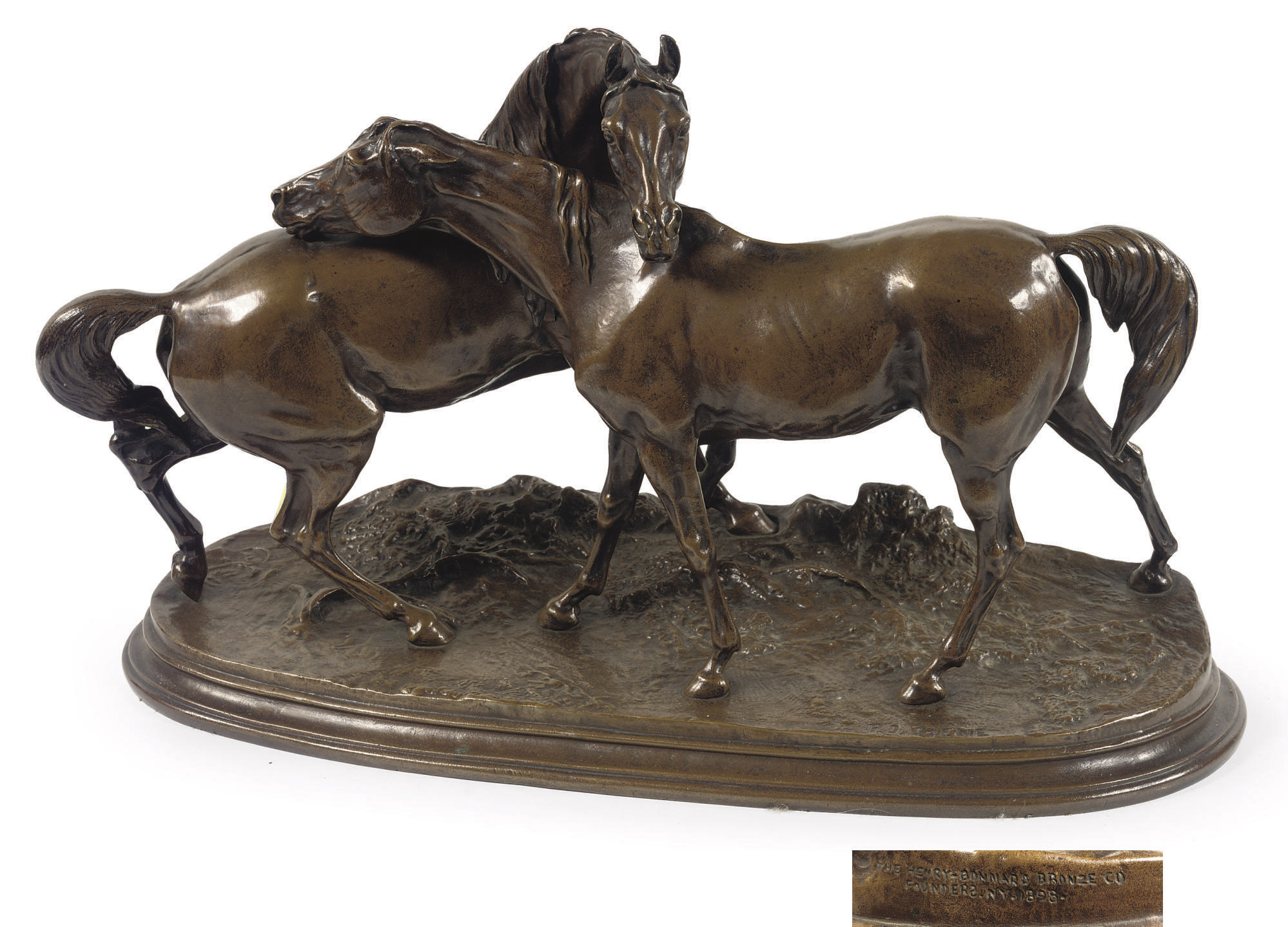 AN AMERICAN/FRENCH BRONZE EQUESTRIAN GROUP ENTITLED 'L'ACCOLADE'