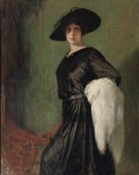 Portrait of the actress Hanna Ralph (1885-1978), standing three-quarter-length holding a white shawl