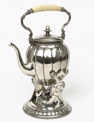 A Dutch silver bouilloire and
