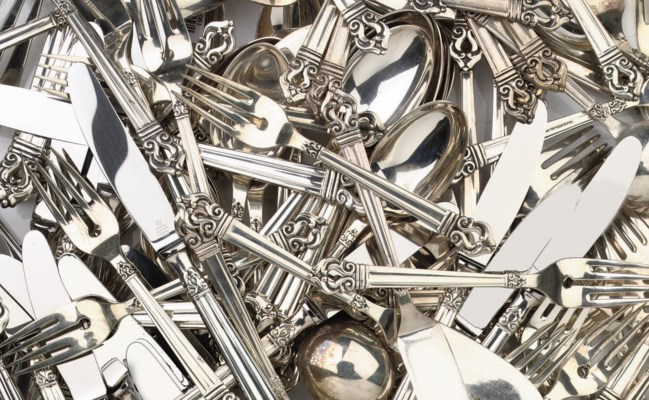 A Mexican silver flatware serv