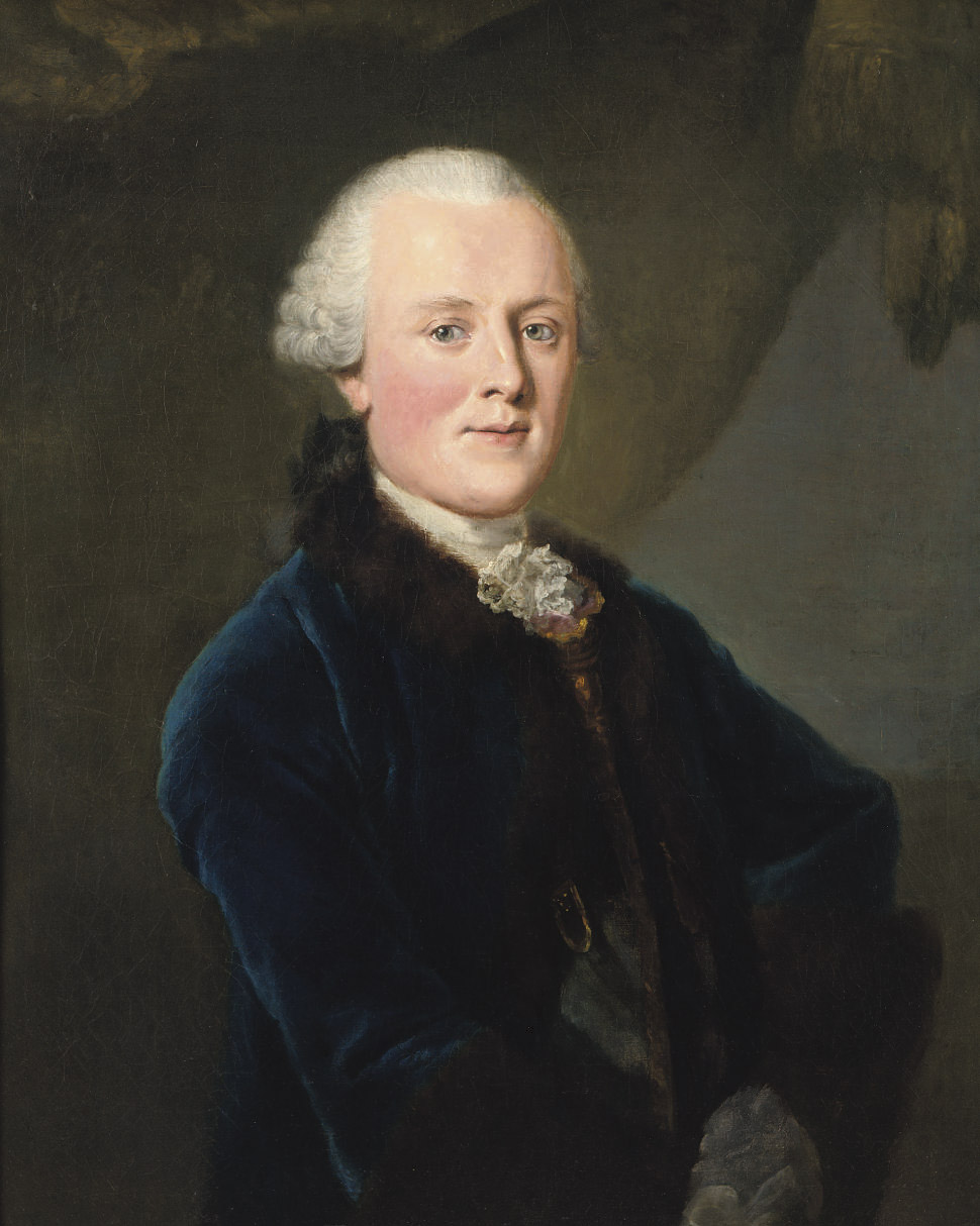 Portrait of Julius Gebhard Count von Hoym (1721-1769), standing half-length, wearing a fur-lined blue coat