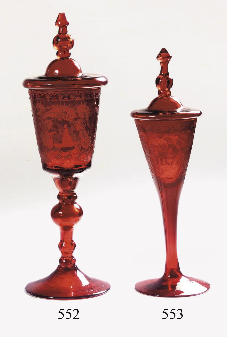 An engraved Bohemian ruby gobl