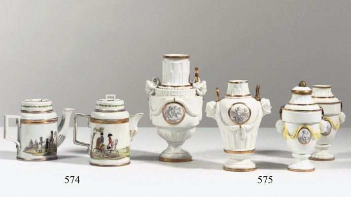 A pair and two Höchst porcelai