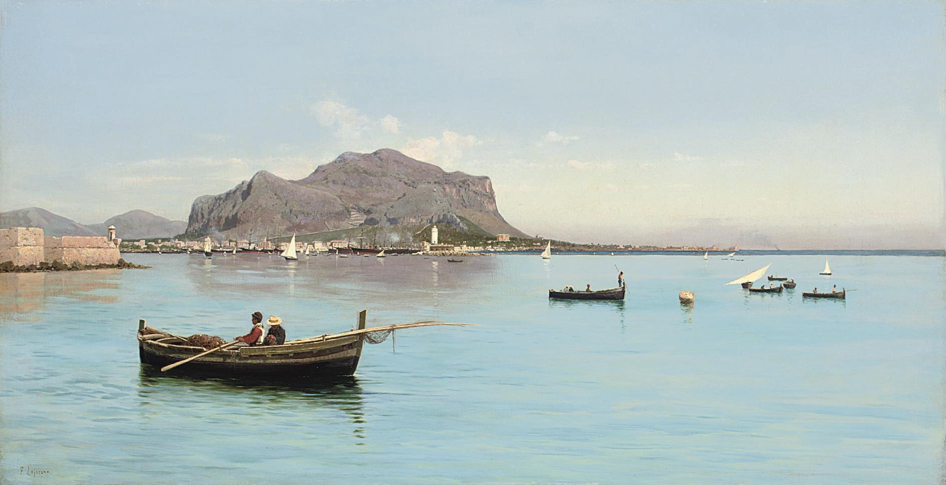Fishermen before the Monte Pellegrino in Palermo, Sicily