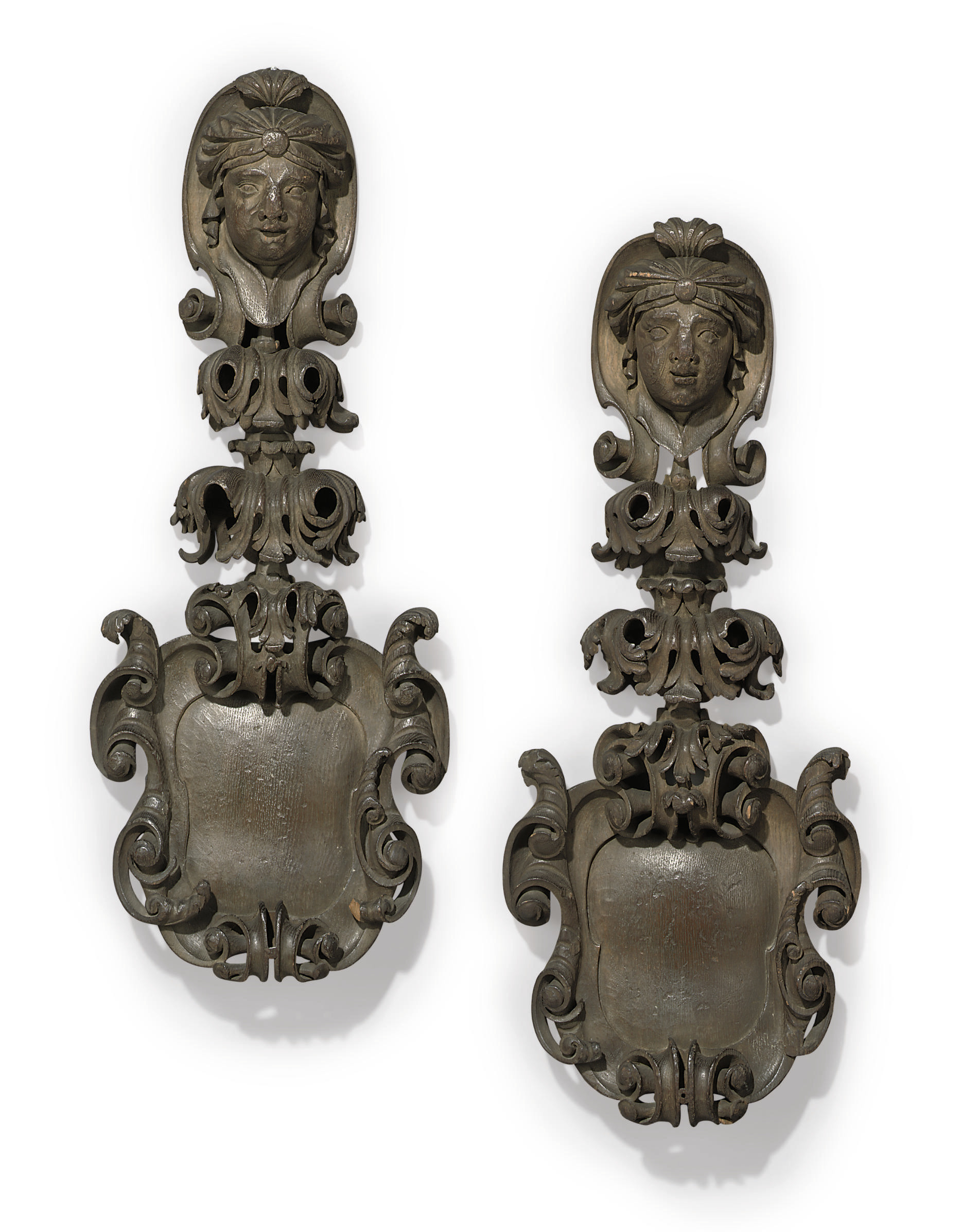 A PAIR OF GEORGE II CARVED OAK