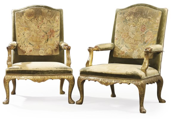 A MATCHED PAIR OF GILT-GESSO W