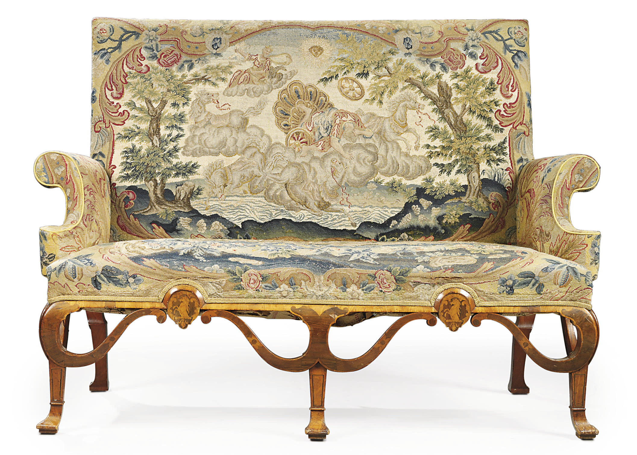A GEORGE I PADOUK, WALNUT, MARQUETRY AND NEEDLEWORK SOFA
