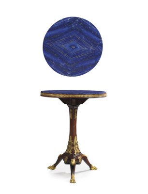 A FRENCH ORMOLU-MOUNTED, LAPIS