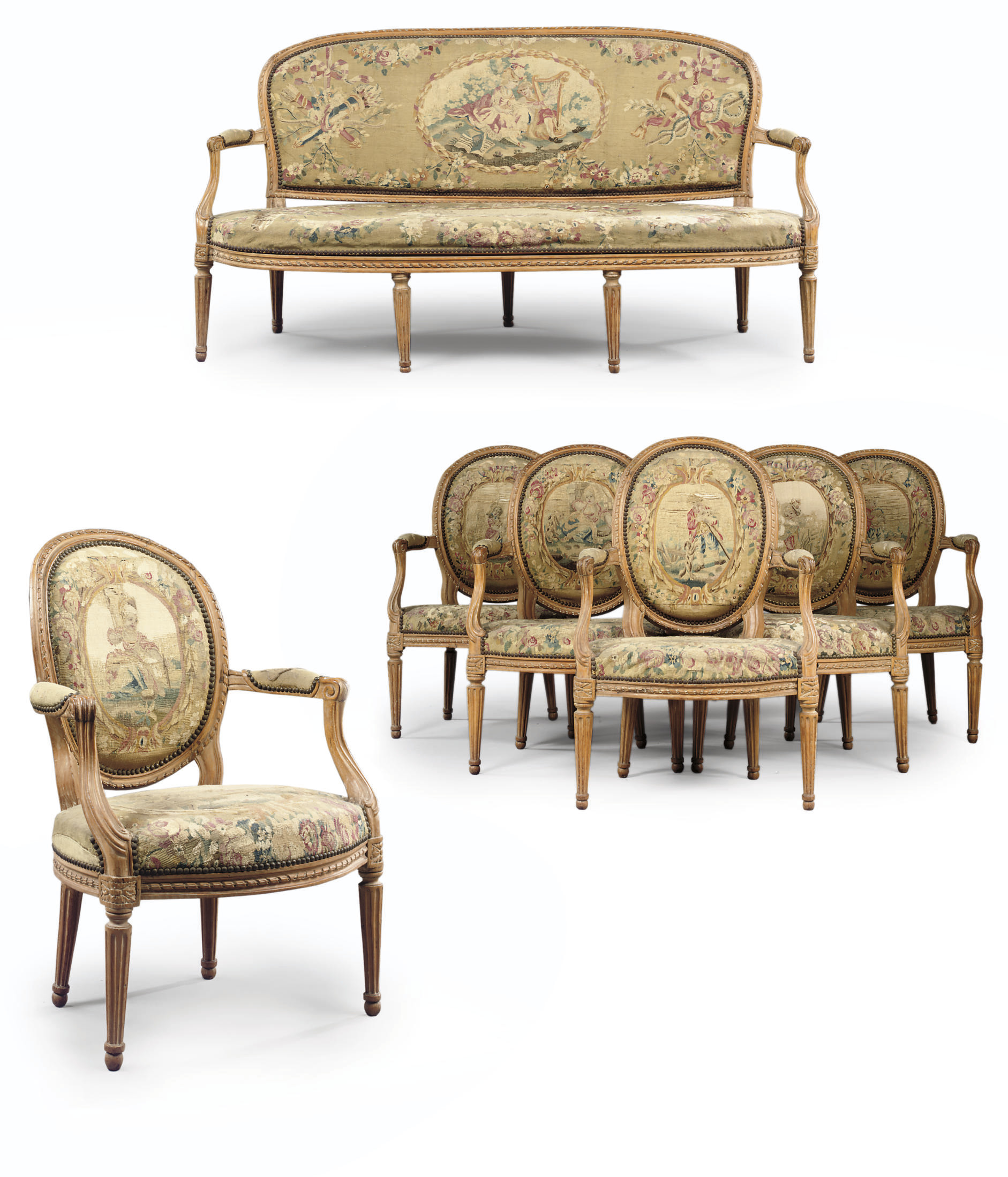 A SUITE OF LOUIS XVI BEECHWOOD AND AUBUSSON TAPESTRY SEAT-FURNITURE