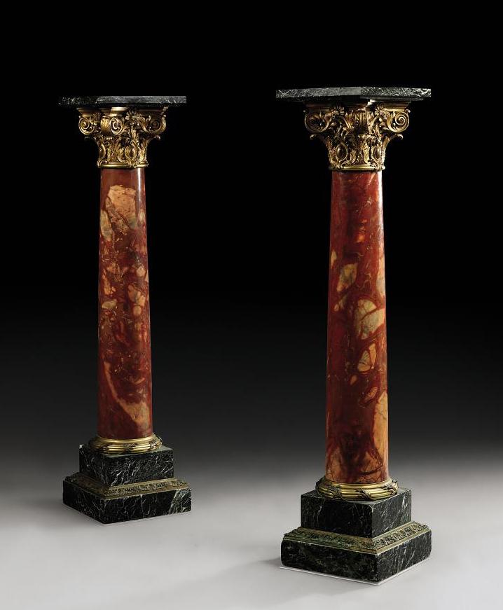 A PAIR OF NAPOLEON III ORMOLU-MOUNTED BRECHE DE VIMINE AND VERT MAURIN MARBLE PEDESTALS
