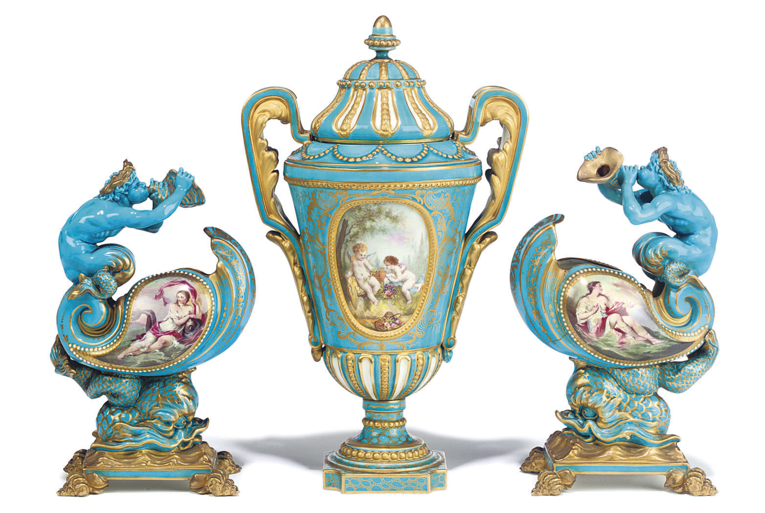 AN ASSEMBLED SEVRES STYLE TURQ