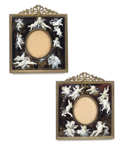 A PAIR OF FRENCH ENAMEL FRAMES