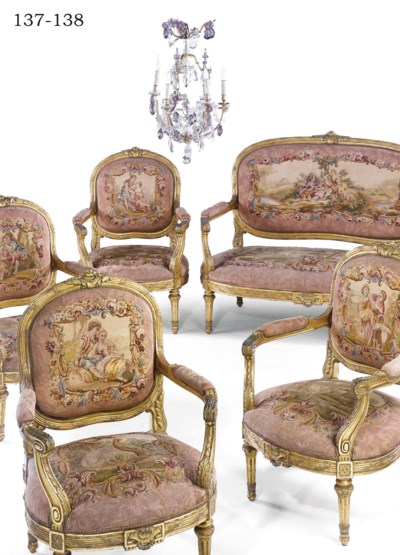A FRENCH GILTWOOD AND AUBUSSON