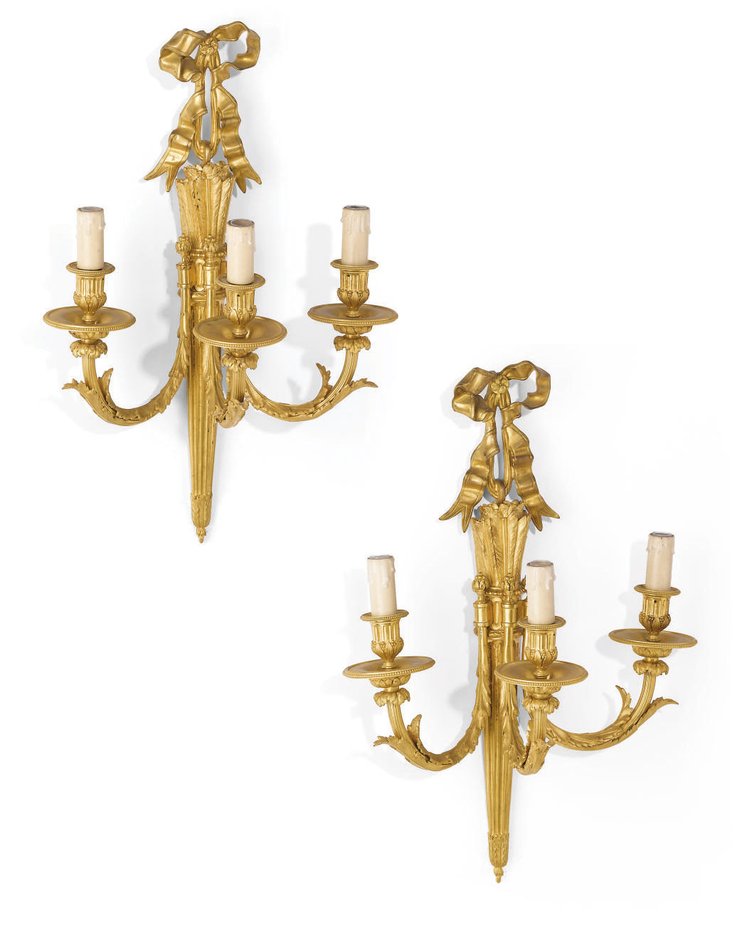 A PAIR OF FRENCH ORMOLU THREE-LIGHT WALL APPLIQUES