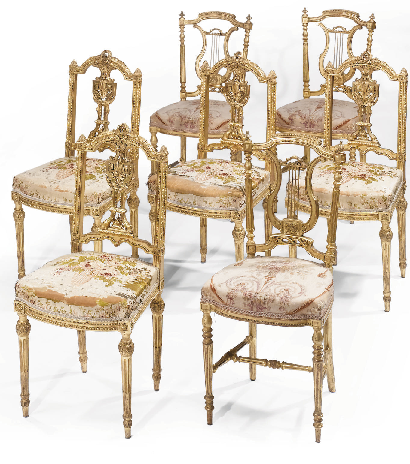 SEVEN FRENCH GILTWOOD SALON CH