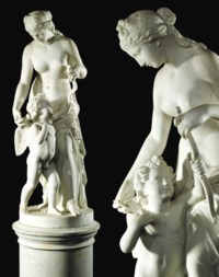 AN ITALIAN MARBLE GROUP OF VENUS AND CUPID, ON PEDESTAL