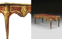 A FINE FRENCH ORMOLU-MOUNTED KINGWOOD, SATINE AND ACAJOU FLAMEE BUREAU PLAT