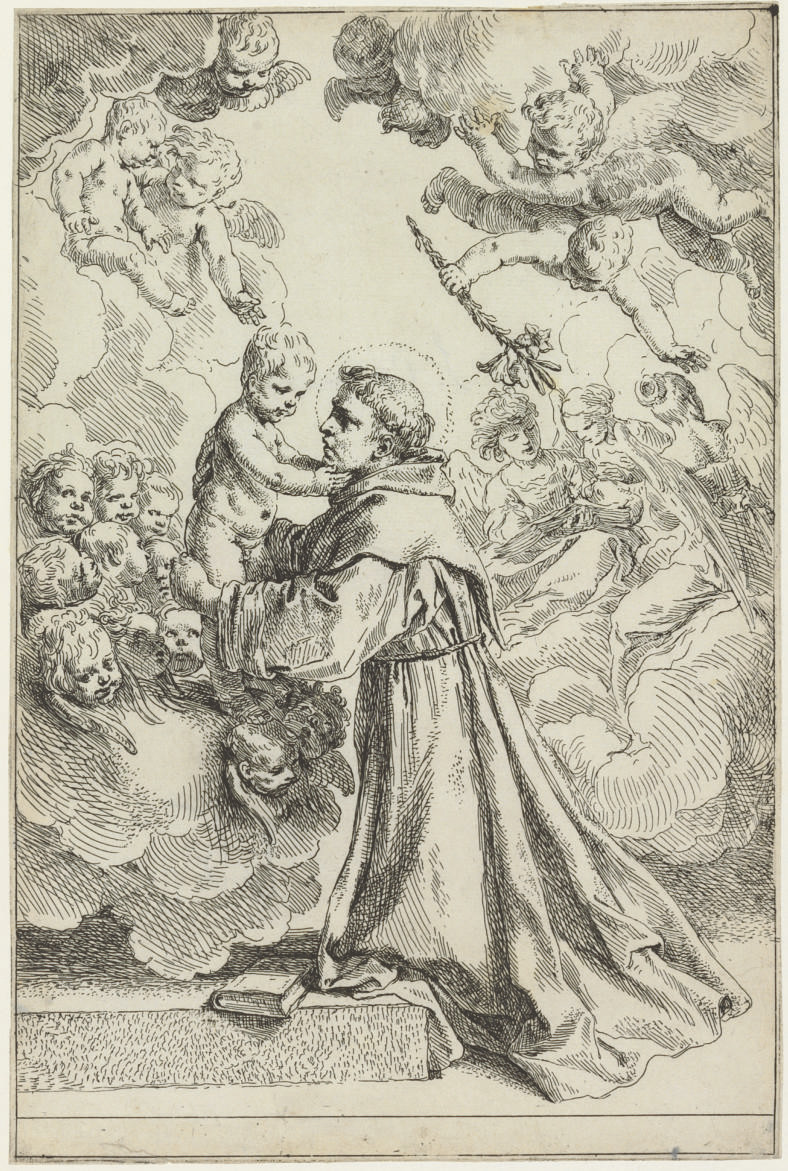 Saint Anthony of Padua adoring the Christ Child in Glory (B. 25; Bellini 26)