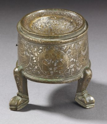 A SILVER INLAID BRONZE INCENSE