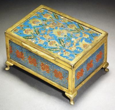 AN ENAMELLED TOMBAK BOX