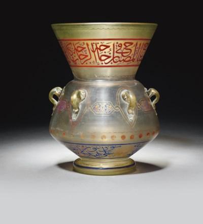 AN ENAMELLED GLASS MOSQUE LAMP