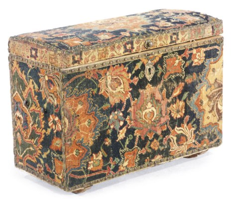 A COFFER COVERED WITH ISFAHAN