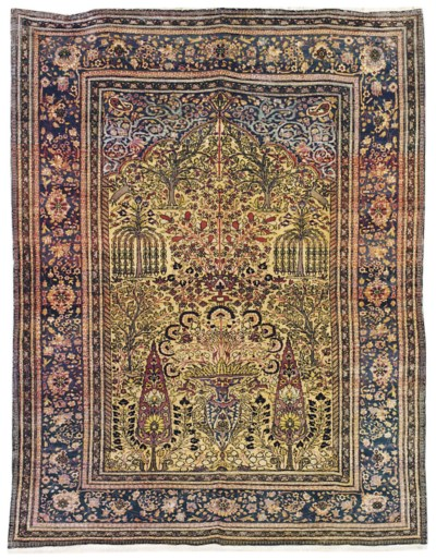 A SILK KASHAN PRAYER RUG