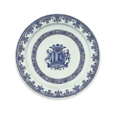 A ROUEN FAIENCE ARMORIAL CHARG