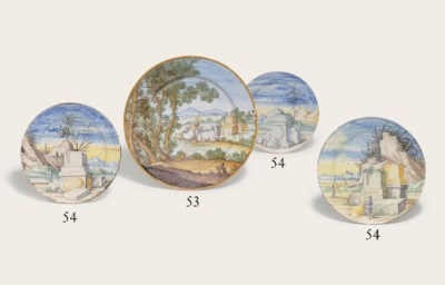 THREE PAVIA MAIOLICA PLATES