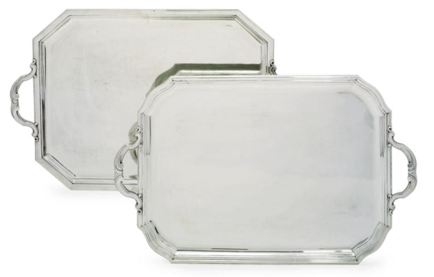 TWO FRENCH SILVER TRAYS