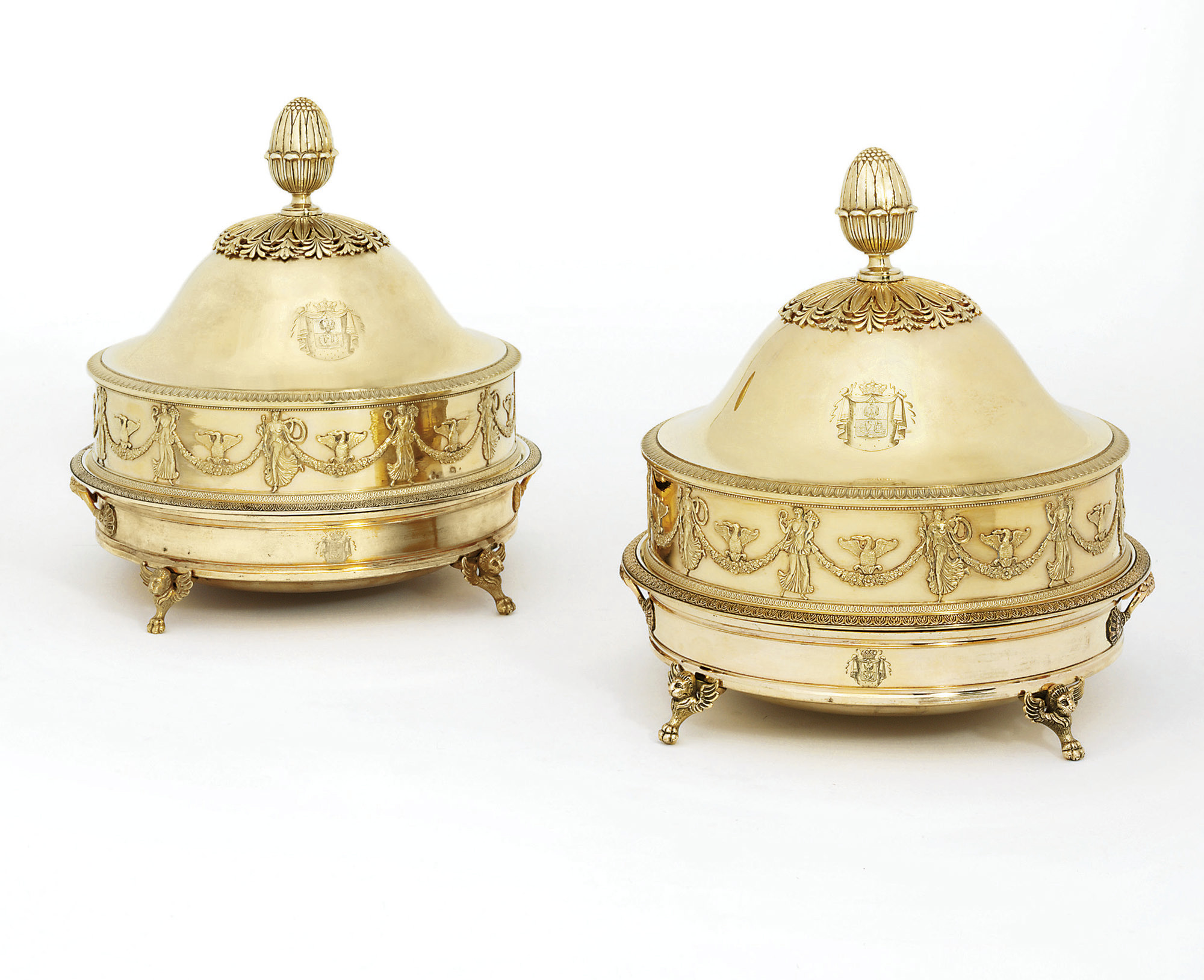 A PAIR OF FRENCH EMPIRE SILVER-GILT DISHES, COVERS AND COPPER-GILT STANDS FROM THE BORGHESE SERVICE