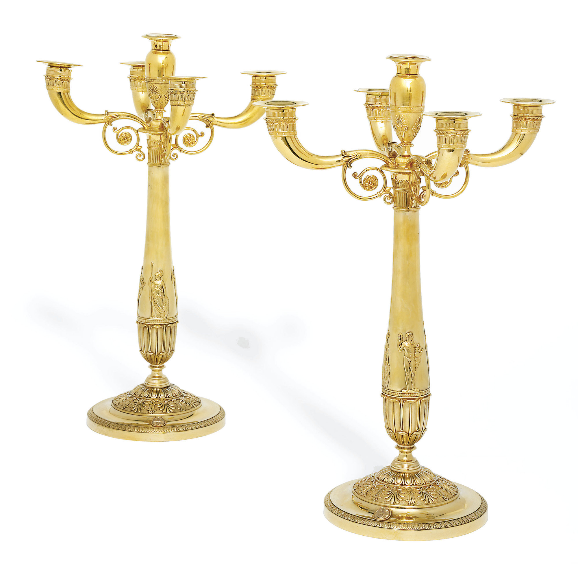 A PAIR OF FRENCH EMPIRE SILVER-GILT FIVE-LIGHT CANDLEABRA FROM THE BORGHESE SERVICE