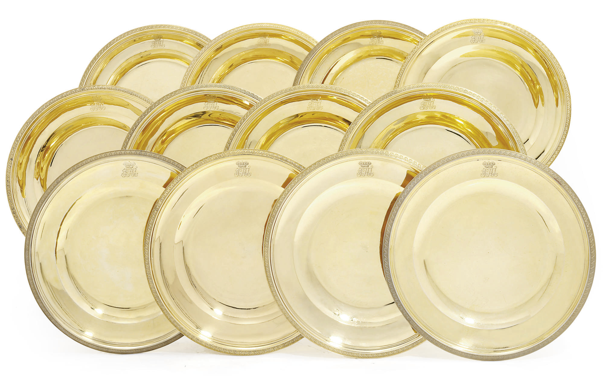 A SET OF TWELVE FRENCH EMPIRE SILVER-GILT DESSERT-PLATES FROM THE GRAND DUKE NICHOLAS PAVLOVICH SERVICE