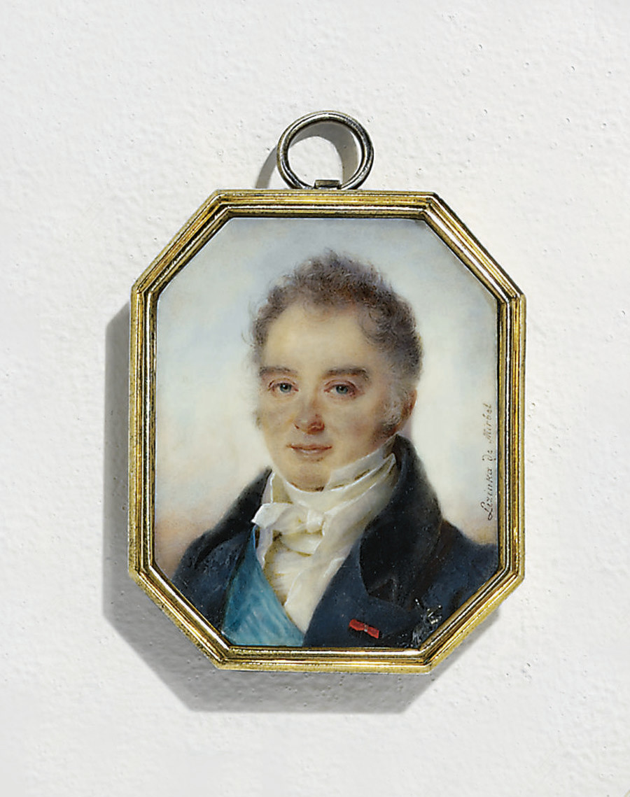 Duc de Duras (1771-1838), in blue coat with black collar, white waistcoat and knotted cravat, wearing the blue moiré sash and breast-star of the Royal French Order of the Holy Ghost and the red ribbon of another order (Legion of Honour or Saint-Louis); sky background