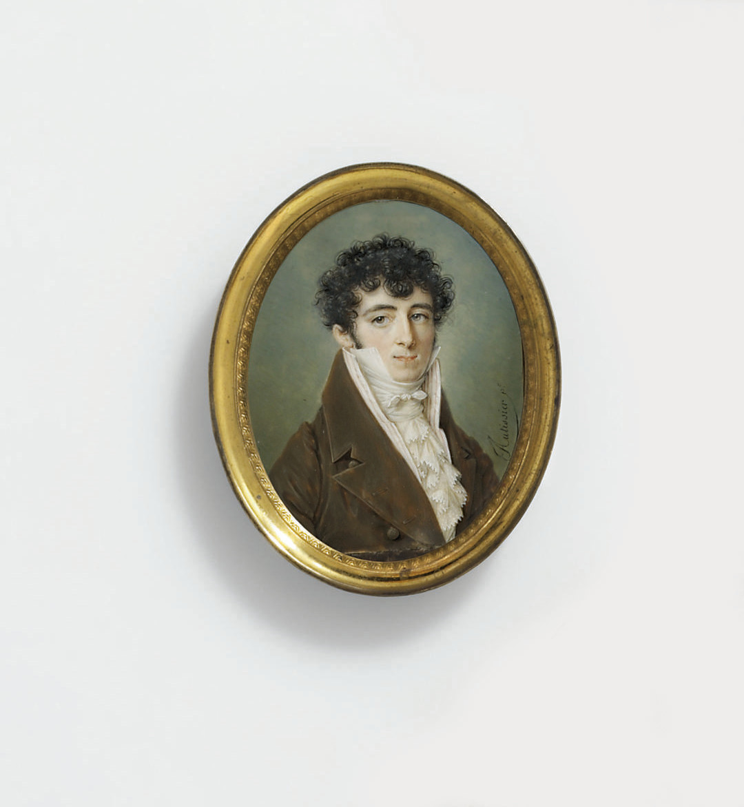 A young gentleman, in olive brown coat, striped waistcoat, white frilled cravat, dark curling hair (artist's joins)