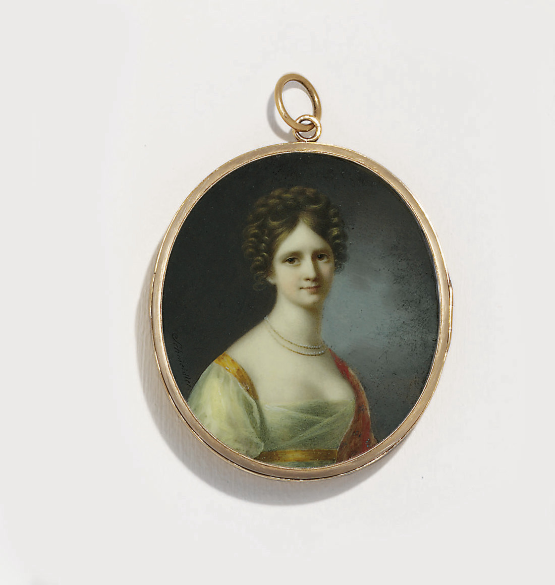 A young lady, in white silk organza dress with orange trim about the shoulder and Empire waist, embroidered persimmon shawl, double-stranded pearl necklace, her chestnut hair plaited and upswept