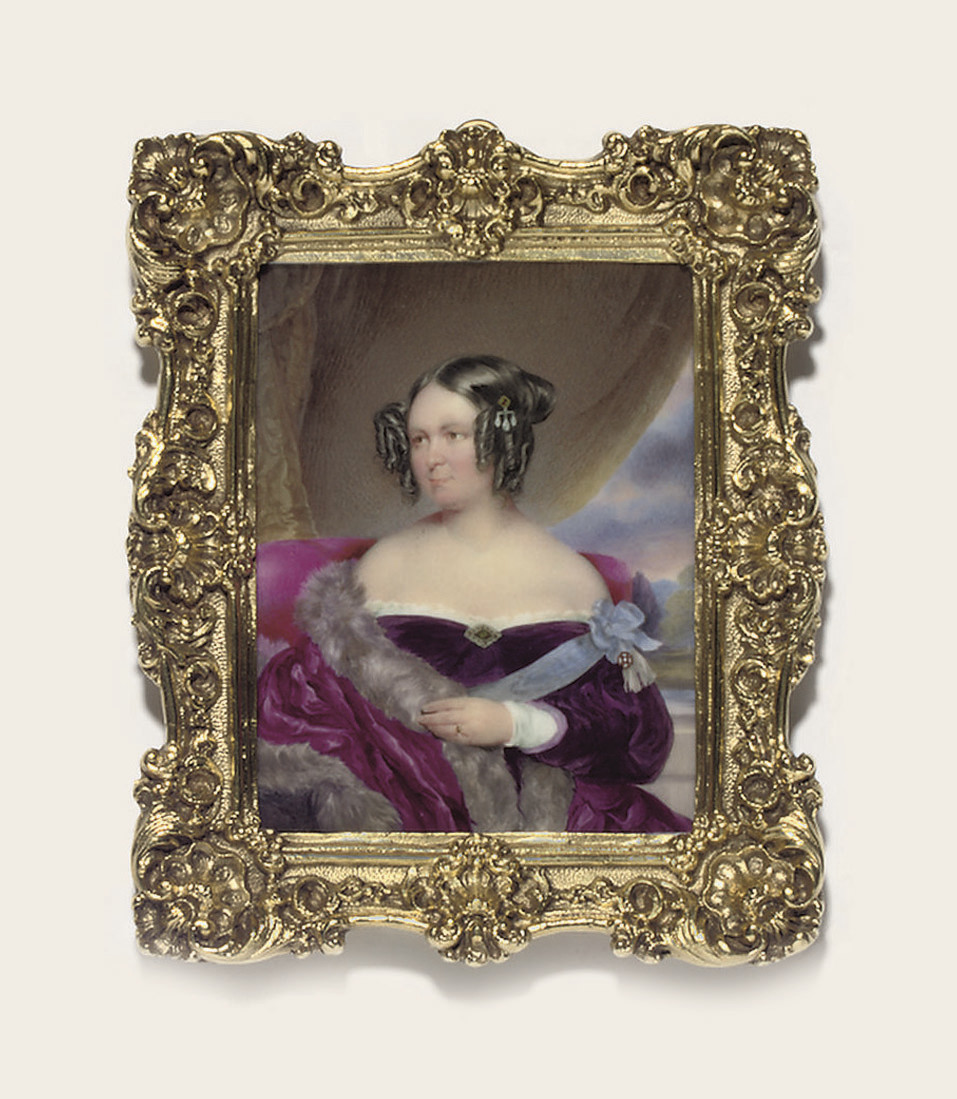 A lady called Baroness von Wacquant-Geozelles, in purple velvet dress with white lace trim and gem-set brooch at corsage, the blue sash of a lady's order, possibly the Bavarian Order of St. Elizabeth, tied in a bow and pinned at her left shoulder with a badge, with tassels, fur stole draped over her right shoulder, three drop-pearl pin worn in her upswept hair, seated on an upholstered raspberry chair draped with fur; green curtain and landscape background