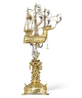A GERMAN PARCEL-GILT SILVER AN