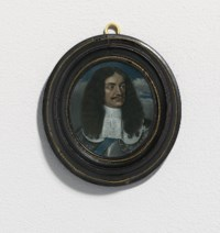 King Charles II (1630-1685), in steel cuirass with gilt-riveted pauldrons, white lawn collar with fine needle lace border, wearing the blue moiré sash of the Order of the Garter, long brown curling periwig